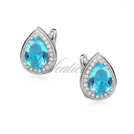Silver (925) earrings with aquamarine zirconia - Z0721D_AQ