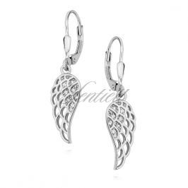 Silver (925) Earrings - wings with white zirconia - Z1450D