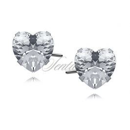 Silver (925) earrings white zirconia 7 x 7mm hearts - 1CHW7E
