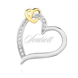 Silver (925) pendant - gold-plated heart with zirconia - Z1376C