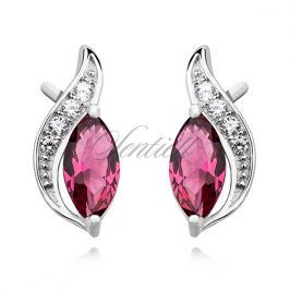 Silver (925) elegant earrings with ruby marquoise zirconia - Z1081E_P