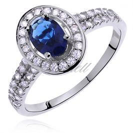 Silver (925) ring with sapphire colored & white zirconia - Z0634A_BL