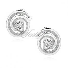 Silver (925) Earrings with white zirconia - KS0217D