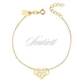 Silver (925) bracelet of celebrities with heart - open-work, gold-plated - R0109B_G