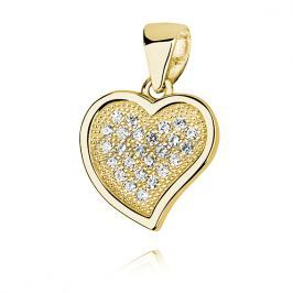 Silver (925) pendant - hollow heart with zirconia - Z1063C_G