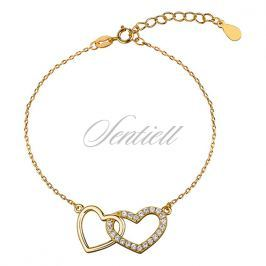 Silver (925) bracelet - hearts with zirconia, gold-plated - Z1144B_G