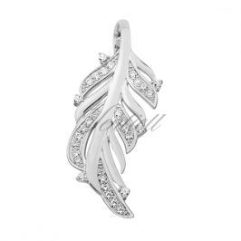 Silver (925) pendant with zirconia - feather - Z1378C