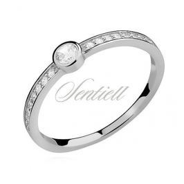 Silver (925) subtle ring with zirconia - Z0913