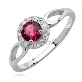 Silver (925) ring with ruby zirconia - Z1162A_P