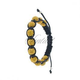 Rope bracelet (925) yellow 11 disco balls - CRZ0044