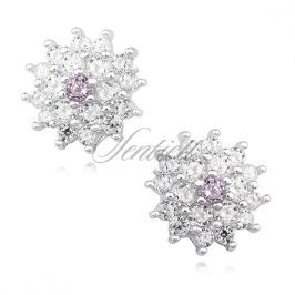 Silver (925) elegant earrings - flowers with light pink zirconia - Z1214E_LP