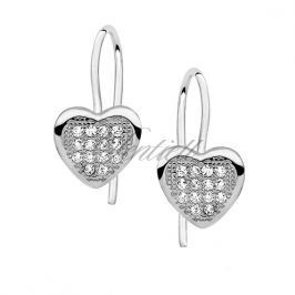 Silver (925) Earrings zirconia microsetting hearts - Z0561D