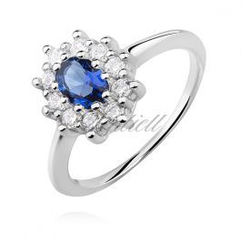 Silver (925) ring with sapphire zirconia - Z1099A_BL