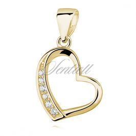 Silver (925) gold-plated pendant - hollow heart with zirconia - Z1023C_G