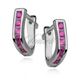 Silver (925) earrings dark pink zirconia - Z0891_P