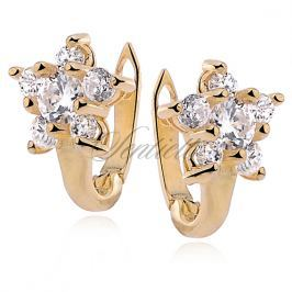 Silver (925) earrings zirconia flower gold plated - Z0484_G